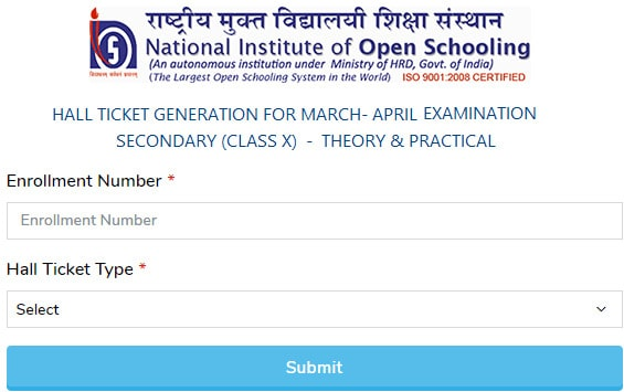 Download NIOS 10th Admit Card 2020
