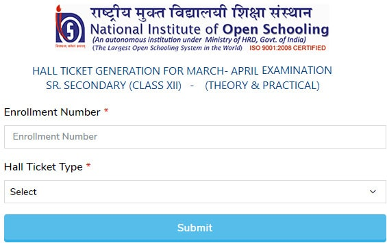 NIOS 12th Admit Card 2020 April Download for Theory & Practical Exams