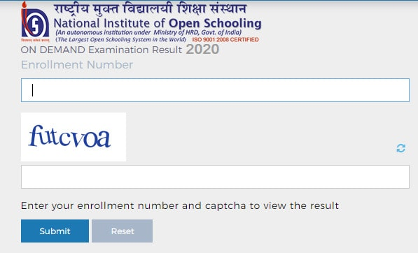 NIOS On Demand Exam Result Class 10