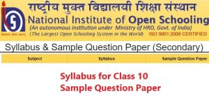 NIOS Syllabus for Class 10 – Sample Question Paper Download