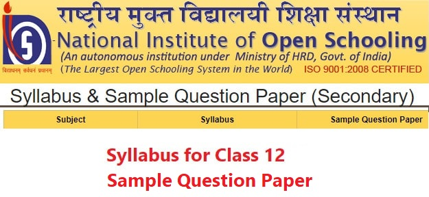 NIOS Syllabus for Class 12 – Sample Question Paper Download