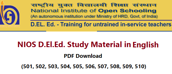 NIOS Dled Study Material in English