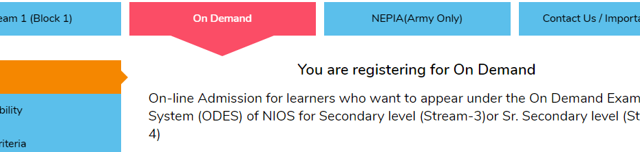 Registration for NIOS On Demand Exam for New Learners